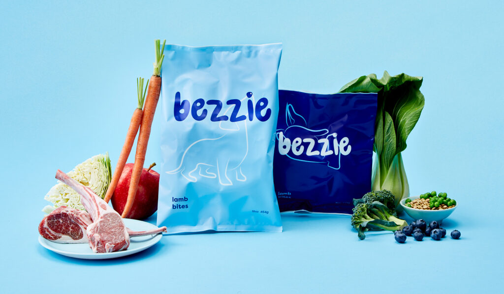 Ingredients in bezzie dry lamb bites on blue background.